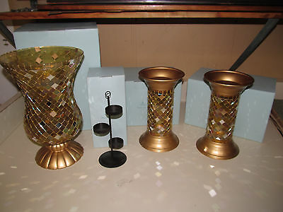 PartyLite Gold Mosaic Hurricane and Columns with Tealite Tree P9902 P9903 P9615