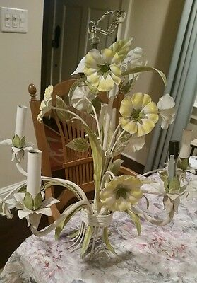 """Antique tole floral chandelier Yellow Daffodil flowers 5 lights Arm Italy 22x19"""""""