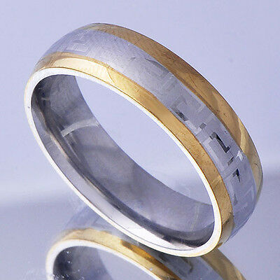 Mens stainless steel Engagement Ring Size 11K Yellow silver Band Ring