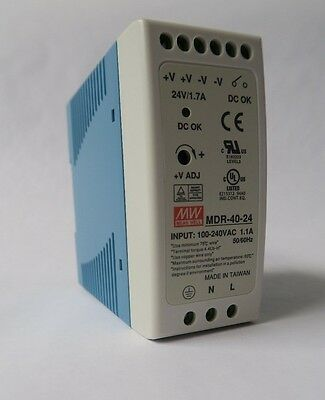 Mean Well MDR-40-24 Power Supply, AC-DC Industrial DIN rail output 24Vdc at 1.7A