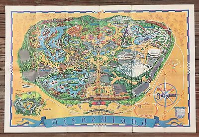 Vintage 1966 Original Walt Disney DISNEYLAND Park Map Advertising Poster 30x44