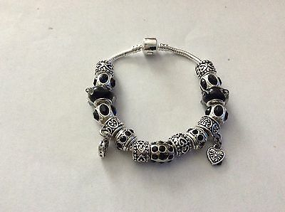 New Sterling Silver Charm Bracelet With Charms