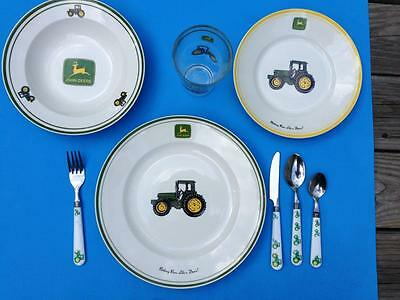 John Deere TRACTOR PLACE SETTING Gibson Salad Dinner Plates Bowl Glass Utensils
