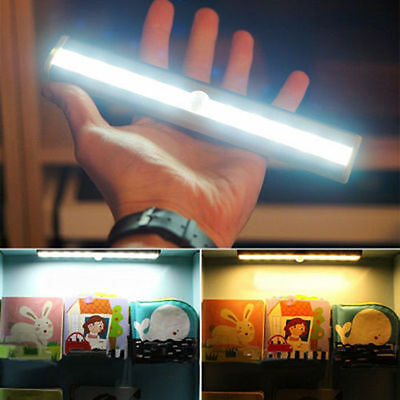 4x Wireless Battery Powered 10 LED PIR Motion Sensor Night Light  Wall Lamp