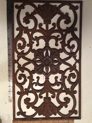 Antique Cast Iron Floral Grate Vent Cover Architectural Register 13 X 23 Inches