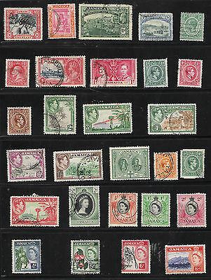 Jamaica 1901-56 Sc#32-167 (28 Different Stamps) 1 page with 3 Views - Cat$20+