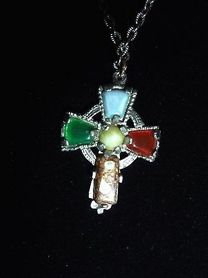 Vintage Celtic Cross Pendant with Semi Precious Stones and Silver Tone Chain