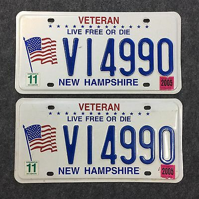 PAIR 2005 New Hampshire VETERAN License Plates Live Free Or Die USA FLAG