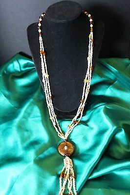 Vintage Glass Bead Multi Strand Necklace with Tassel