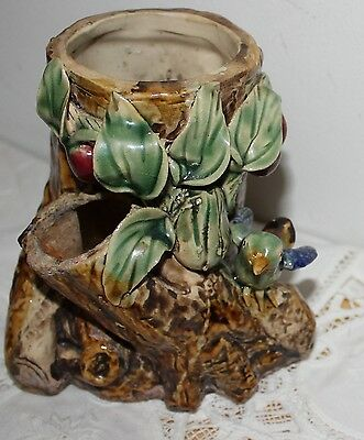 Antique Vtg MAJOLICA Tree Trunk Leaf Berry BIRD Nest  Vase Planter