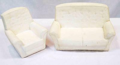 Sindy Furniture - Two Seater Couch and Armchair White Rubber #11884