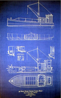 "Vintage Eagle Harbor WA Cargo Boat 1913 Blueprint Plan Drawings 23""x33"" (038)"