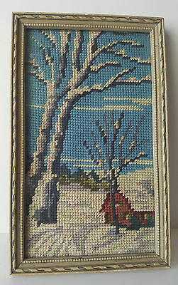 "Vintage Needlepoint 9.75"" x 6"" Winter Farmhouse Landscape Wood Frame Pixel 8Bit"