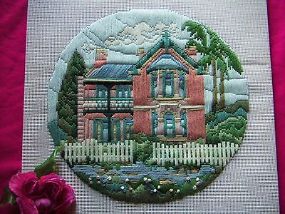 Vintage Longstitch Tapestry Completed Victorian House Craft Cushion Cover Pinks
