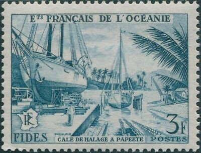 French Oceania 1956 SG215 3f turquoise Economic and Social Development Fund MNH