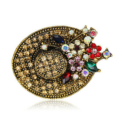 Vintage Hat Brooch Pin Gold Plated Flower Crystal For Women Jewelry Gift 049
