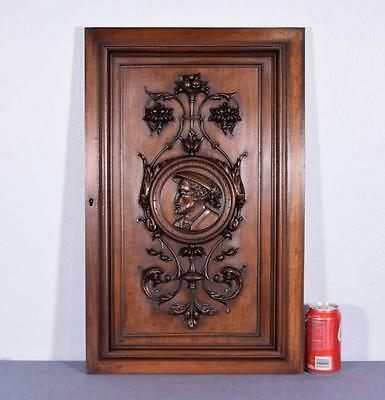 French Antique Hand Carved Panel/Door in Walnut Wood with Portrait of a Man