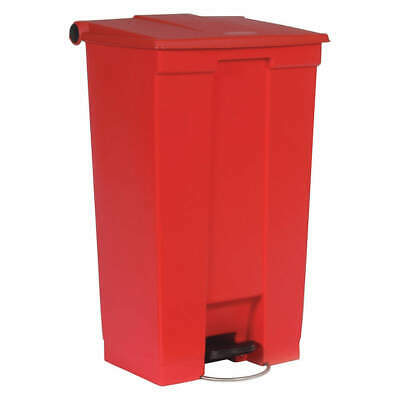 RUBBERMAID Plastic Step On Trash Can,Rectangular,23 gal., FG614600RED, Red