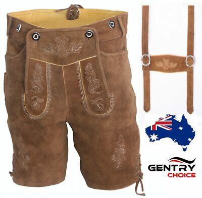 Authentic Suede Leather German Bavarian Lederhosen Oktoberfest Beer Men Costume