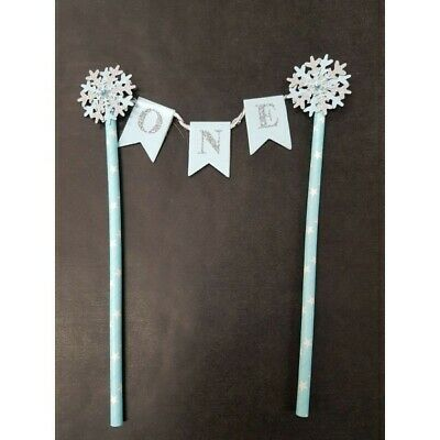 ONE Blue Silver Cake Topper Sweetilicious  FREE POST