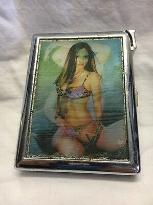 Vintage Metal Cigarette Case With Light Moveing Photo On Each Side