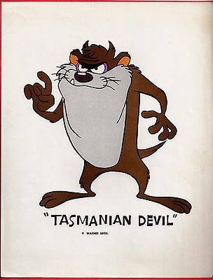 TASMANIAN DEVIL Vintage Cartoon Poster LOONEY TUNES Rare 1960's WARNER BROS. Taz
