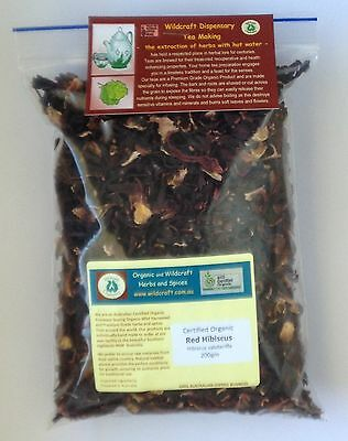 RED HIBISCUS 200g Dried Herb Flower Organic Herbal Tea Rosella Broad Petal