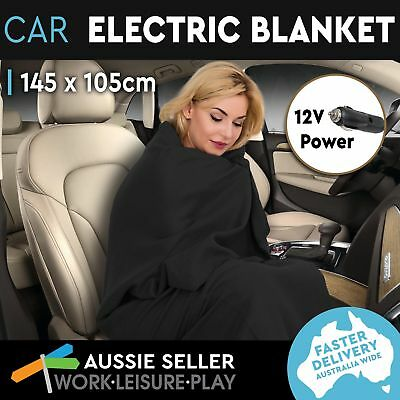 Heated Car Blanket Travel Rug Soft Caravan Fleece Electric Throw 12 Volt Black