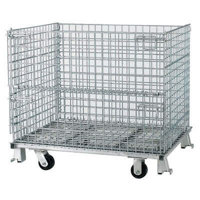 NASHVIL Steel Wire Mesh Collapsible Container,32 In L,Silver, C324028S4C, Silver