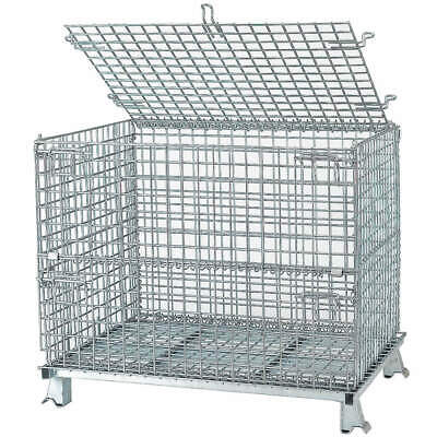 NASHVIL Steel Wire Mesh Collapsible Container,32 In L,Silver, C324028S4L, Silver