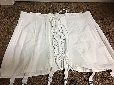 Vintage Sears Women's Girdle Lace-up Corset Garter 15099 USA Size 42 D18 White