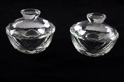 Royal Doulton Pair Of Clear Crystal Lidded Glass Bowl