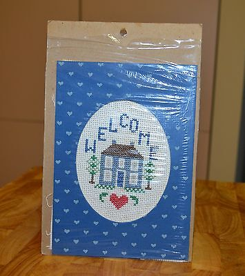 Vintage Small Cross Stitch Welcome Home Completed Embroidery 12.5 x 17cm Fabric