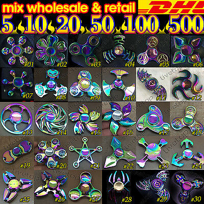 Lot 5x 10 50 100pcs Rainbow hand spinner Tri Fidget kid toy gryo Wholesale DHL