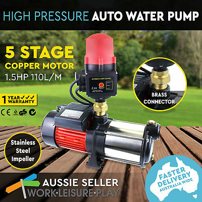 Multi Stage High Pressure Auto Water Pump Garden Household Rain Tank Irrigation