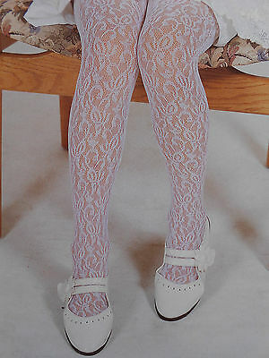 Baby Girls Lacy Tights Party Wedding Christening Special Occasion White/ivory