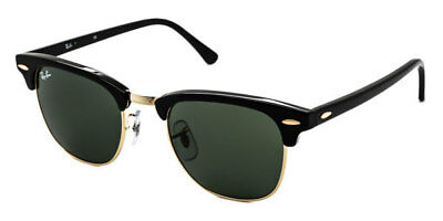 BRAND NEW Ray-Ban Sunglasses RB 3016 W0365 51mm Clubmaster Black Gold AUTHENTIC