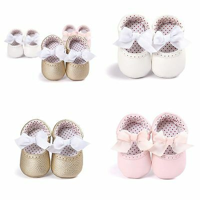 Infant Baby Girls Kids Soft PU Casual Toddler Crib Shoes Bow Sneaker 0-18 Month