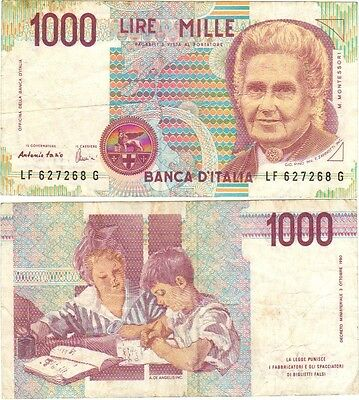 Italy 1000 Lire Mille Banknote **RARE**