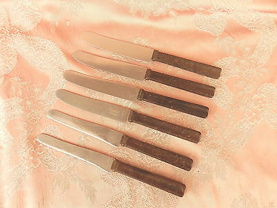 SET  6  BAKELITE  HANDLE   Knives  PLUS  1  GREGSTEEL  BLADES  Fitzroy   VINTAGE