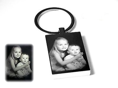 Personalised Photo Image &text Engraved Rectangle Key ring -Great Gift