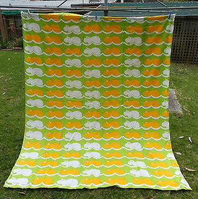 HIPPOPOTOMI  by AUSTFIELD   Curtain  #  2    GREEN YELLOW   Retro VINTAGE Fabric