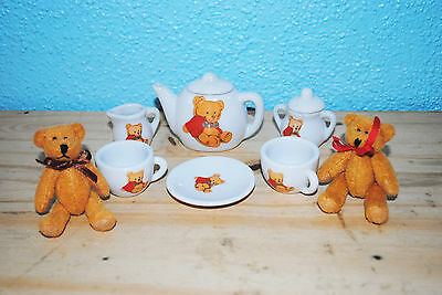 """Miniature Battat little bear tea set with two bears Perfect for 18"""" doll LOOK!"""