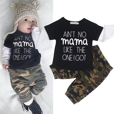 0-24M Toddler Baby Kid Boy 2pcs Outfit Set Casual T-shirt Tops+Camouflage Pants