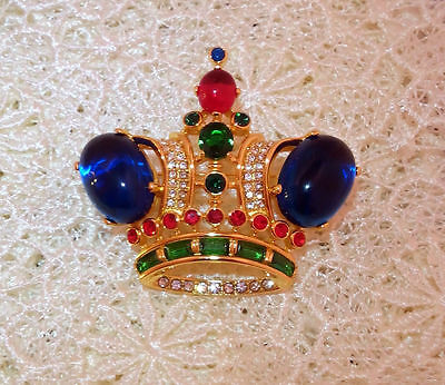 brooch Trifari vintage silver crown