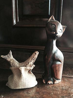 Carved Wooden Cat With Clay Fish Figurine Totem Animal Spirit Art Model Statue