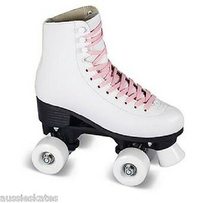 Classic Kids Girls High White Retro Boot Quad Roller Skates Size EU34