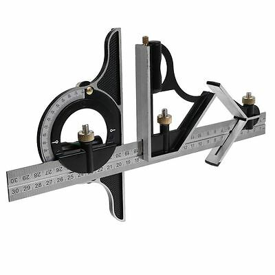 """12"""" Combination Square & Protractor Steel Measuring Tools Kits Level SAE Metric"""