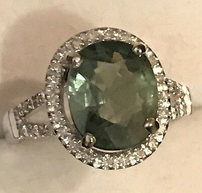 2.63Ct Natural Emerald Green Sapphire Diamond Ring 14K Solid White Gold