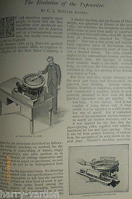 Evolution History of Typwriter Thurber Bar Lock Rare Old Antique 1897 Article
